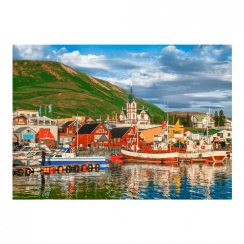 Húsavík boats postcard