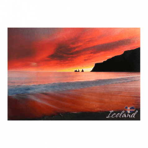 Reynisdrangar glittery postcard