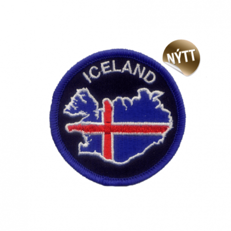 Clothing patch map of Iceland and flag