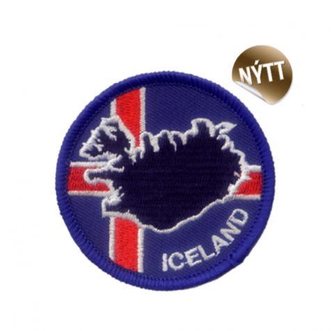 Clothing patch Icelandic flag and map