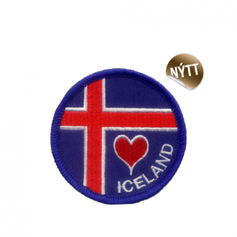 Clothing patch Icelandic flag with heart