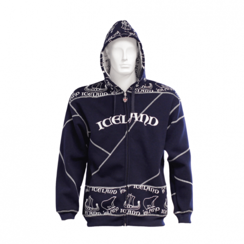Ship and icebear patterned zipped hoodie