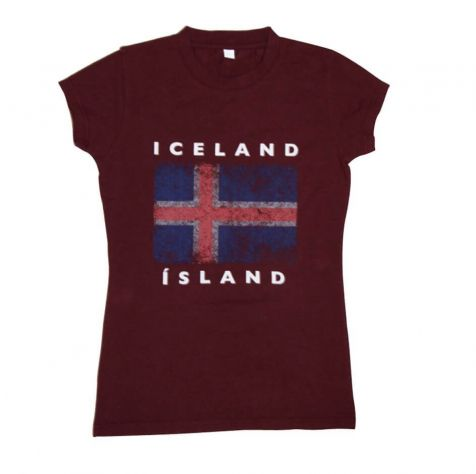 Ladies t-shirt with Icelandic flag