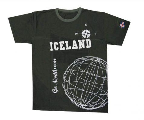Go North Iceland globe t-shirt