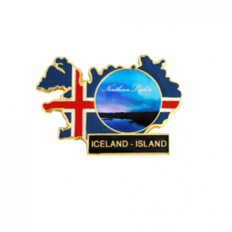 Icelandic flag magnet with northern lights