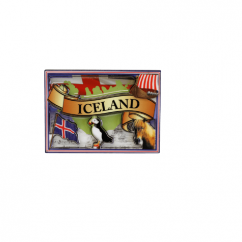 Epoxy magnet with Iceland and puffin