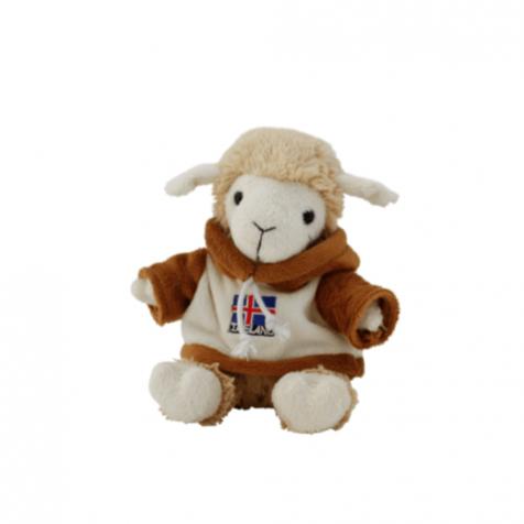 Lamb in icelandic flag hoodie stuffed animal