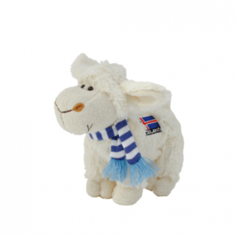 Lamb with Icelandic flag and scarf stuffed animal