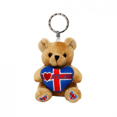 Teddy bear key chain with I heart Iceland pillow