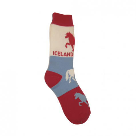 Red socks with Icelandic horse