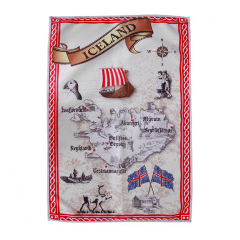 Dish towel with map of Iceland