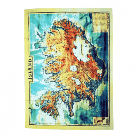 Dish towel with colored map of Iceland
