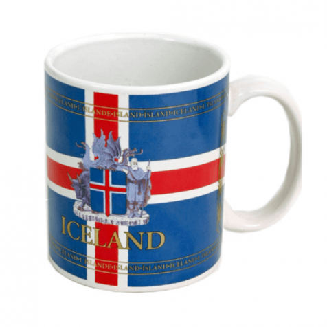 Cup with Icelandic flag and coat of arms