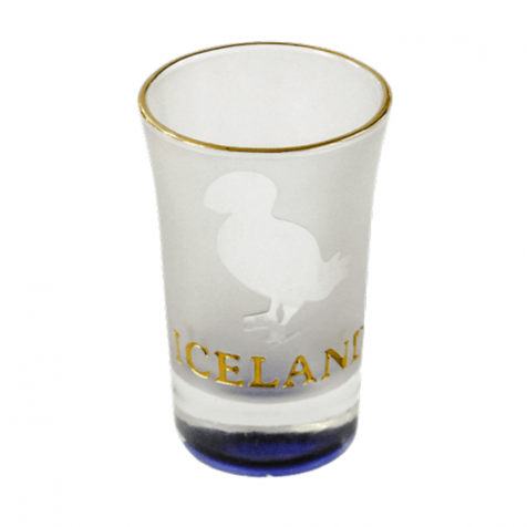 Shot glass with puffin