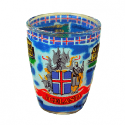 Shot glass with Icelandic coat of arms