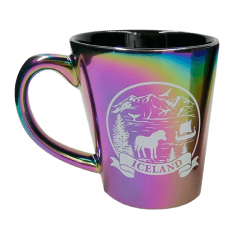 Cup with Iceland in rainbow