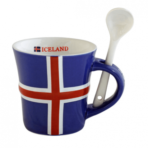 Cup with a spoon and an Icelandic flag