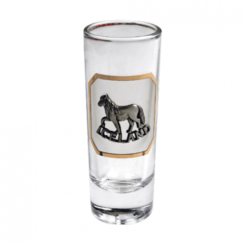 Shot glass with silver horse