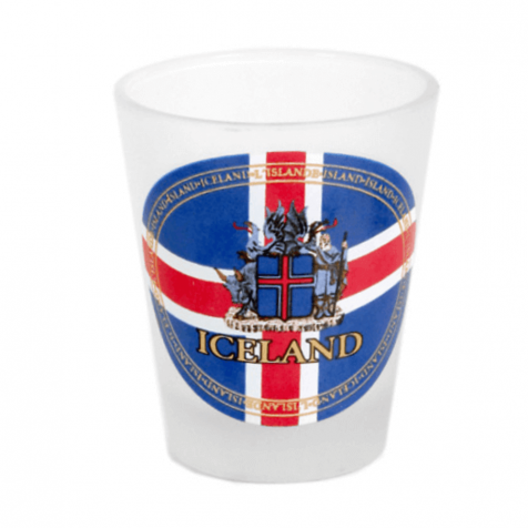Shot glass with flag and coat of arms