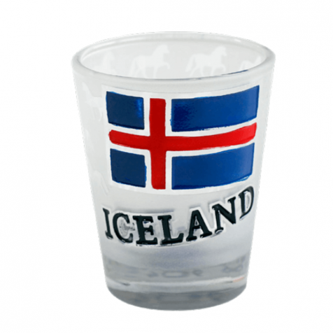 Shot glass with Icelandic flag
