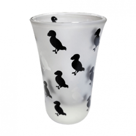 Shot glass with puffins