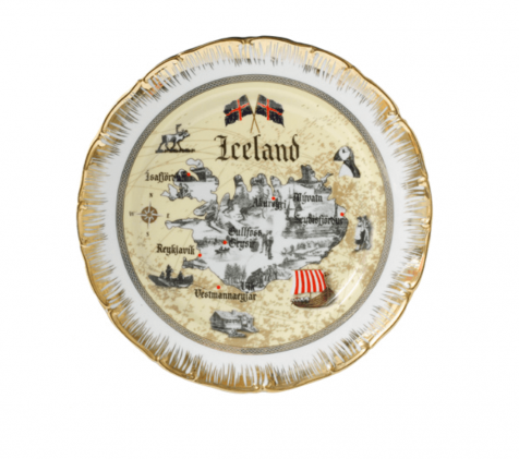 Disk with old Iceland map