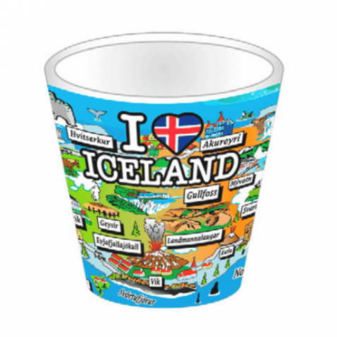 Shot glass with map of iceland