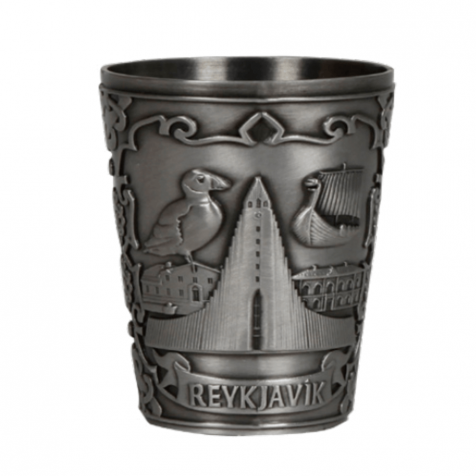 Iron shot glass in silver with puffins and reykjavik