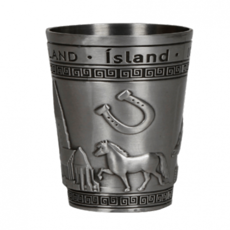 Iron shot glass in silver with horses