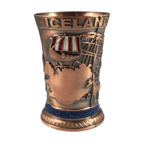 Iron shot glass in bronze color with map of Iceland