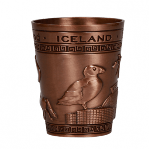 Iron shot glass in copper color with puffins and perlan