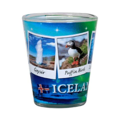 Shot glass with northern lights and pictures