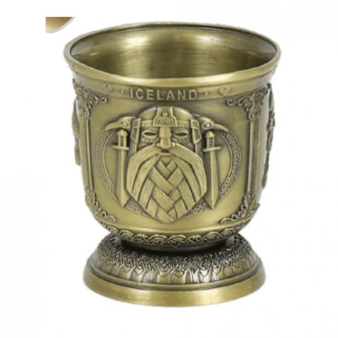 Iron shot glass in bronze with viking theme