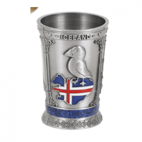 Iron shot glass in silver with iceland theme