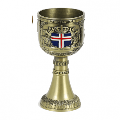 Iron grail cup in copper with viking theme
