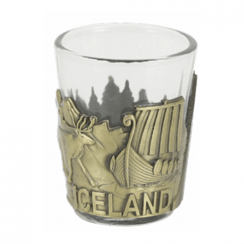 Shot glass with viking themed bronze colored iron frame