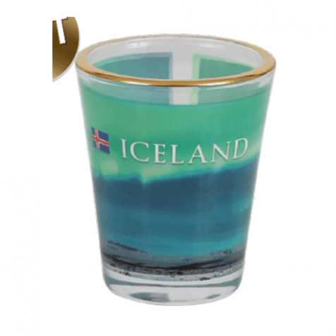 Shot glass with northern lights