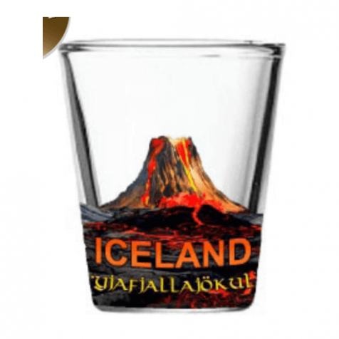 Shot glass with eyjafjallajokull volcano