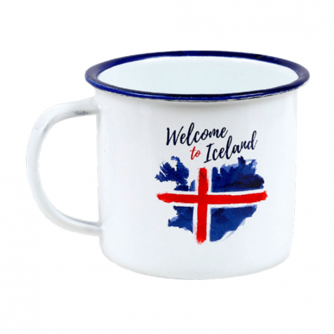 Iron mug with welcome to Iceland