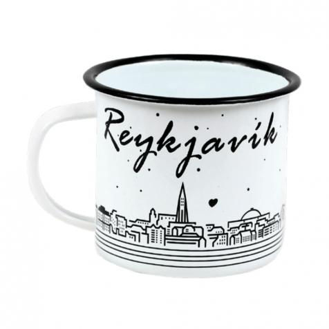 Iron mug with Reykjavik