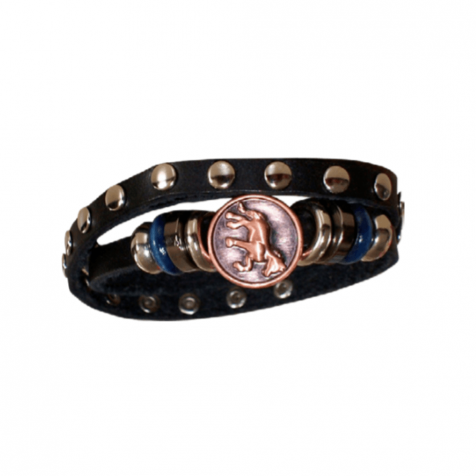 Ladies leather bracelet with horse and studs