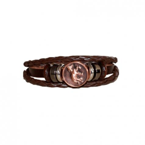 Ladies leather bracelet with bronze horse