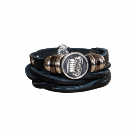 Ladies leather bracelet with viking ship