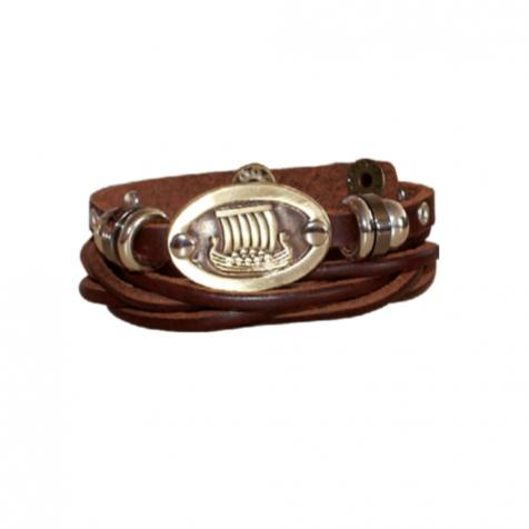 Men's leather bracelet with viking ship