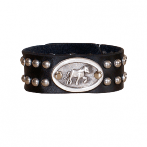Men's leather cuff with horse