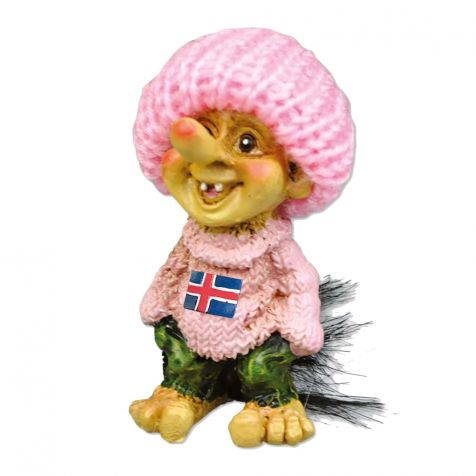 Small troll in baby pink sweater