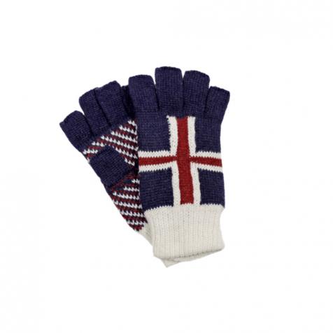 Fingerless gloves with Icelandic flag