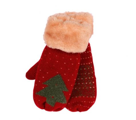 Ladies mittens with Christmas tree