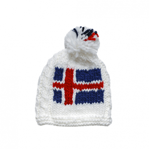 Hand knitted Icelandic flag hat