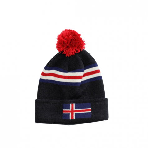 Hat with Icelandic flag and pompom One Size